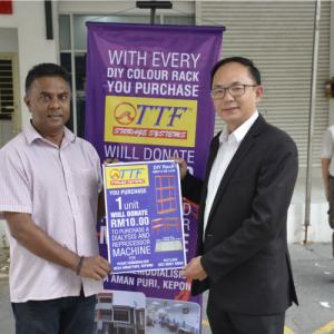 TTF contribute RM10.00 from each purchased DIY Rack to Pusat Hemodialisis Desa Aman Puri